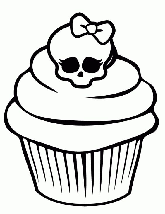 Monster High Cupcake With Chic Skull On Top Coloring Page