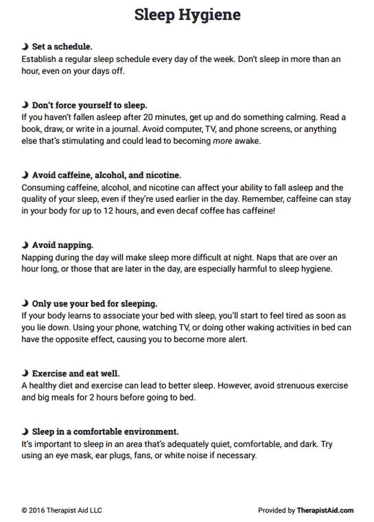 Sleep Hygiene Handout (worksheet