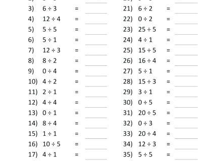 3rd Grade Math Worksheets Division Free Math Printable Blank