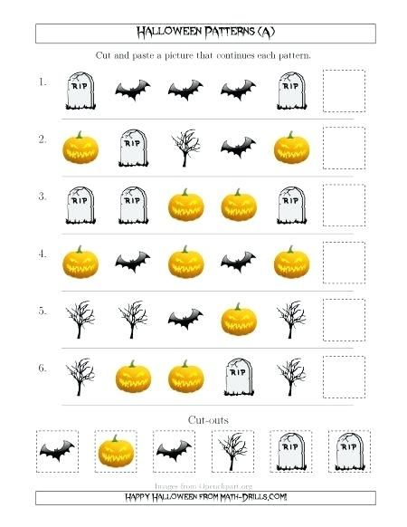 Math Worksheets Scary Picture Patterns Worksheets Halloween
