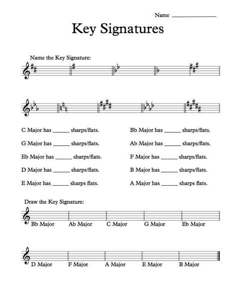 Free Key Signatures Worksheet