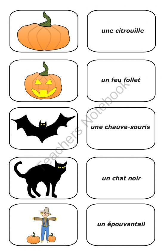 Free Halloween French Picture Cards (pdf) From Teaching The Smart