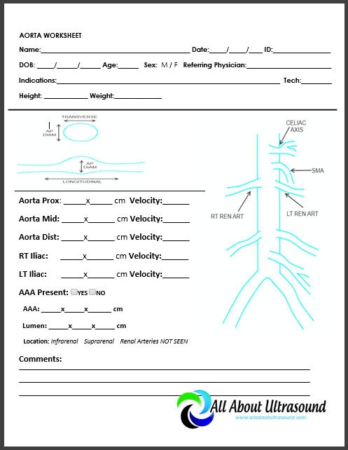 Ultrasound Technologist Worksheets