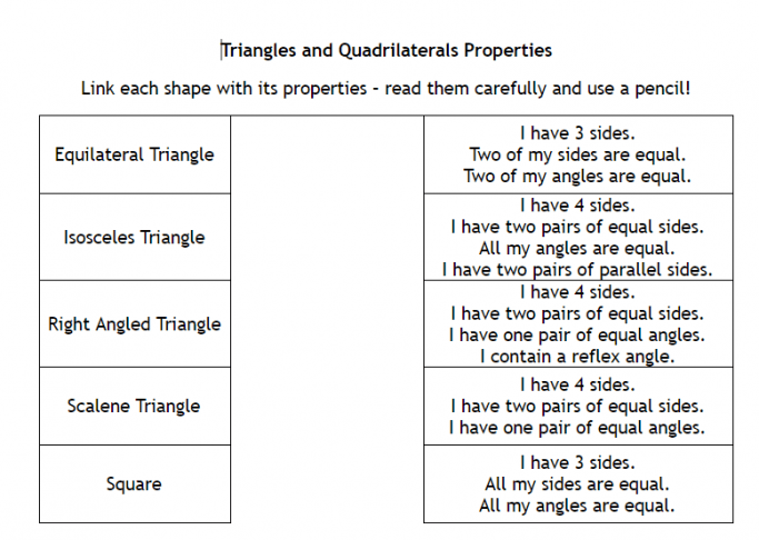 Properties Of Triangles And Quadrilaterals Worksheet For Ks3 Maths