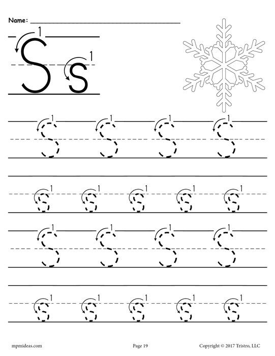 Free Printable Letter S Tracing Worksheet With Number And Arrow