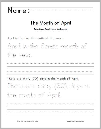 April Handwriting And Spelling Practice Worksheet