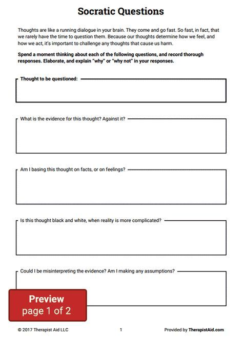 Cognitive Restructuring  Socratic Questions (worksheet