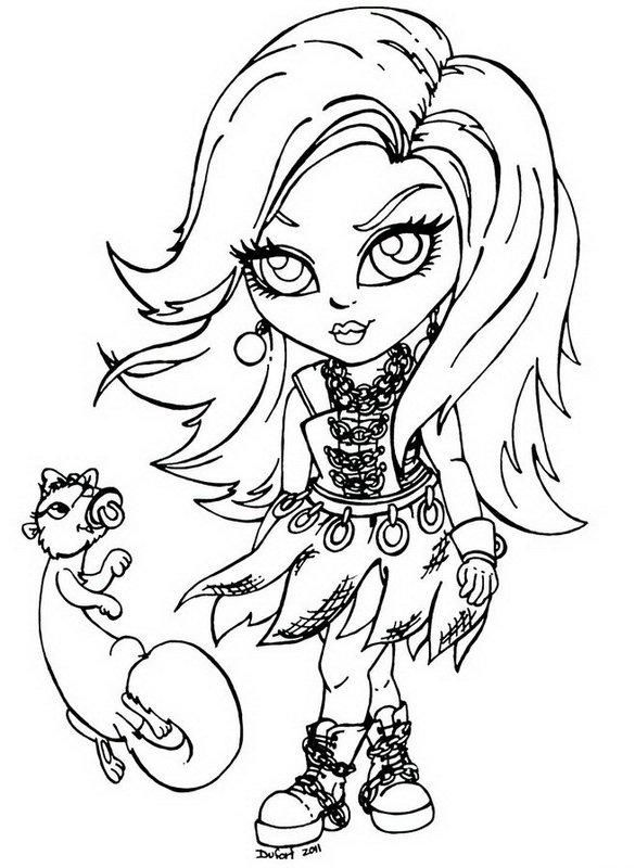 Spectra Vondergeist Little Girl Monster High Coloring Page