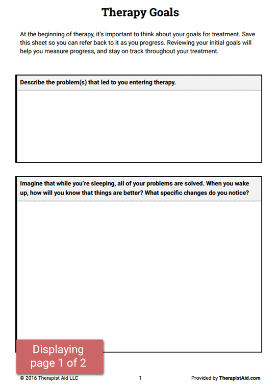 Therapy Goals (worksheet