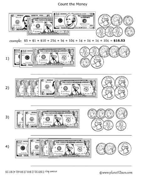 Free Printable Black & White Worksheet  Adding Coins And Bills