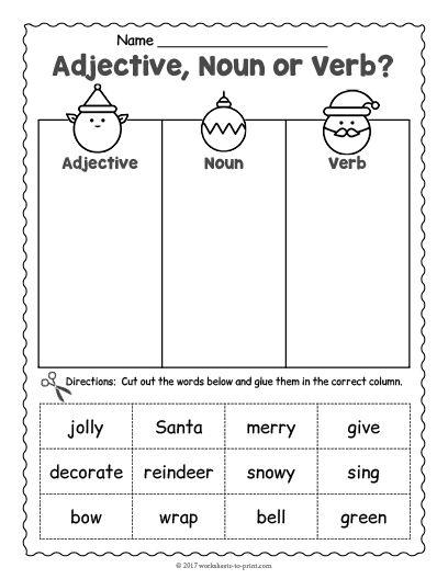 Free Printable Christmas Grammar Worksheet