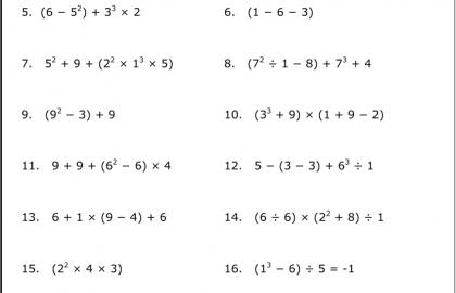 8th Grade Pre Algebra Worksheet Building Exponents Squares Cubes