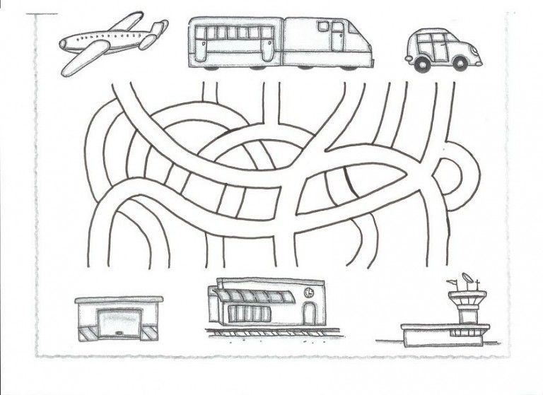 Transportation Maze Worksheet For Kids (1)