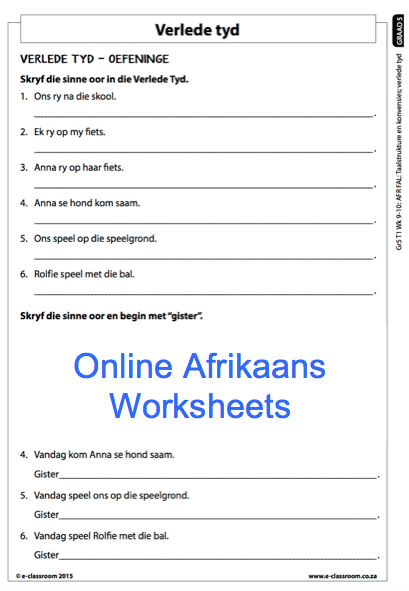 Grade 5 Online Afrikaans Worksheets, Verlede Tyd  For More