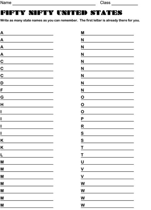 The Fifty States, First Letter Is Given And Students Fill In As