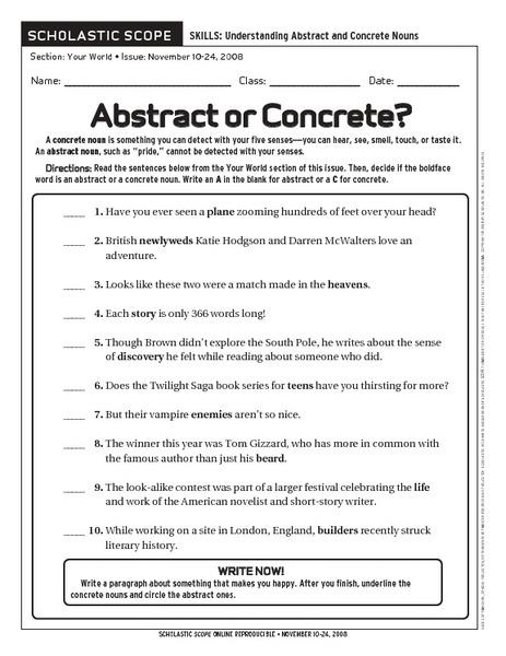 Abstract Noun Worksheets Abstract Nouns Worksheets 3rd Grade All