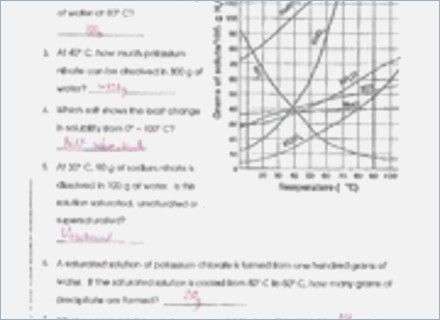 Solubility Graph Worksheet Answers