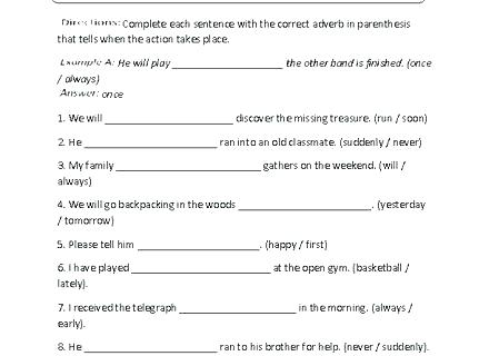 Adjectives Worksheets Middle School Adjective Adverb Worksheet