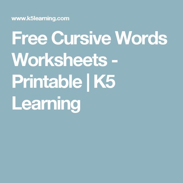 Free Cursive Words Worksheets