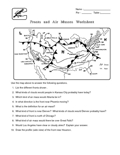 Air Mass Worksheet