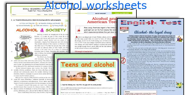 Alcohol Worksheets