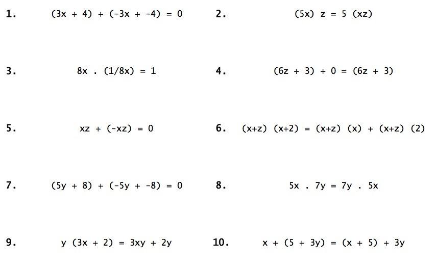 Properties Of Real Numbers Worksheet  Number  Alistairtheoptimist