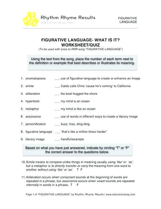 Alliteration Worksheets Middle School Worksheet Library Free