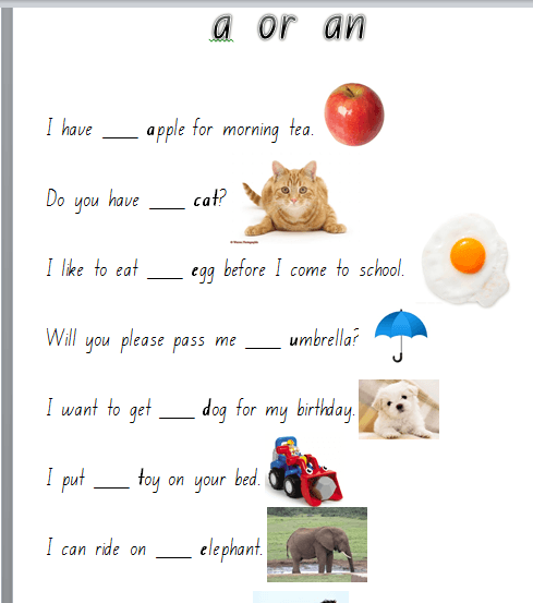 Flourishing In Kindergarten  Grammar Worksheets