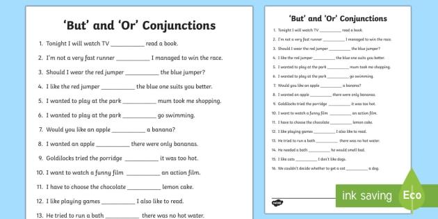 But' And 'or' Conjunctions Worksheet   Worksheet