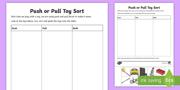 Push Or Pull Toy Sort Worksheet   Worksheet