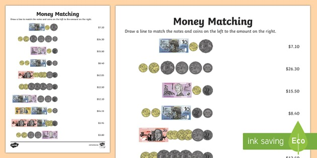 Australia Money Matching Worksheet   Worksheet
