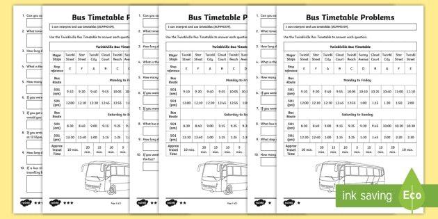 Reading A Bus Timetable Differentiated Worksheet   Worksheets