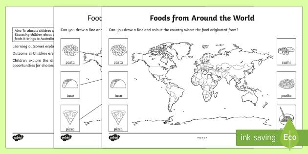 Foods From Around The World Worksheet   Worksheet