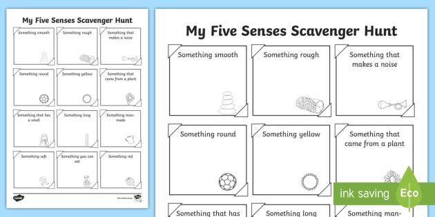 Five Senses Scavenger Hunt Worksheet