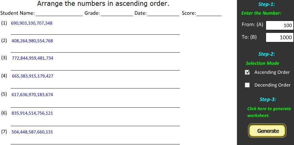 Ascending Order & Descending Order Worksheet Generator