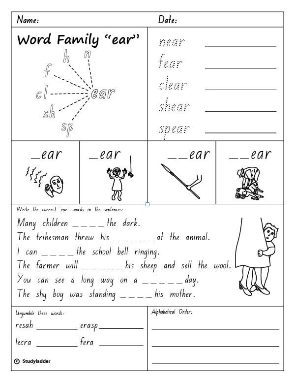 Image Result For Phonics Ear Words Worksheets