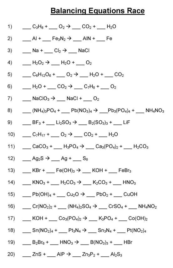 Chemistry Balancing Equations Worksheet Answers