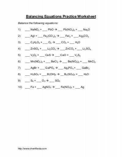 Balancing Chemical Equations Practice Worksheet Answer Key