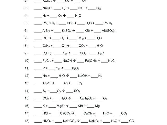 Writing And Balancing Chemical Equations Practice – Rightarrow
