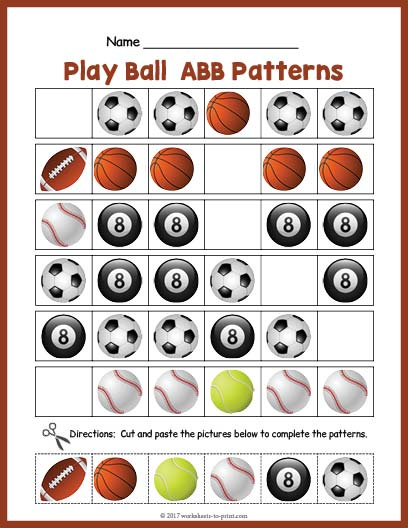 Balls Abb Pattern Worksheet