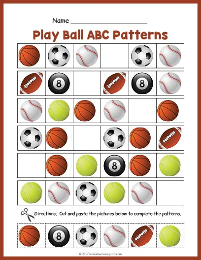 Sports Balls Abc Pattern Worksheet
