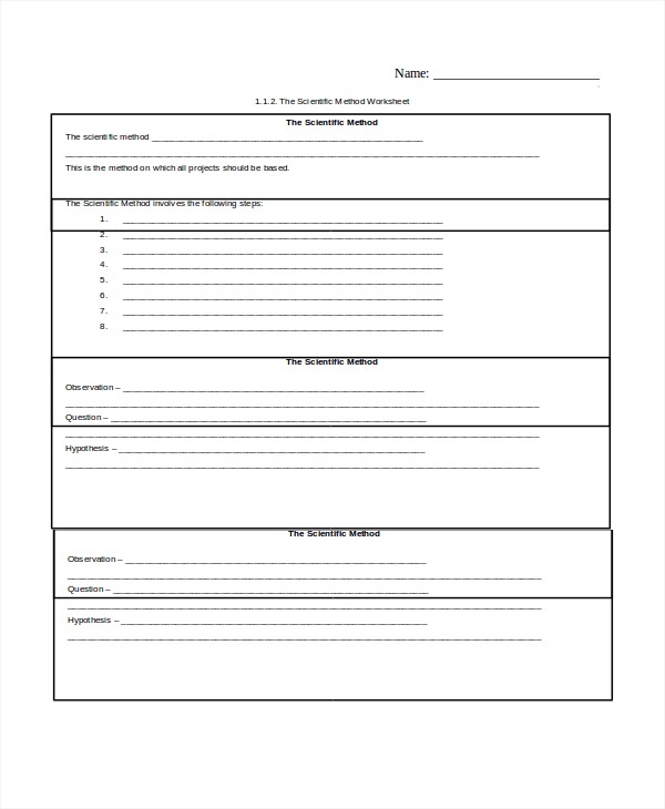 Scientific Method Worksheet Pdf