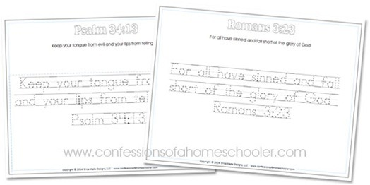 Kindergarten Bible Verse Handwriting Worksheets