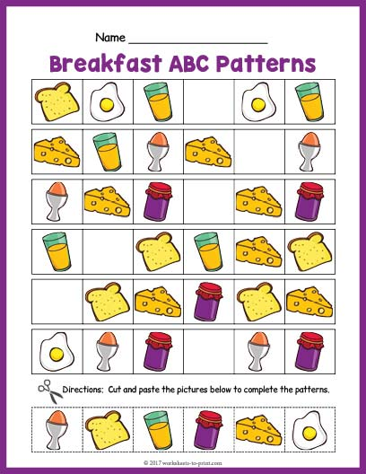 Breakfast Abc Pattern Worksheet