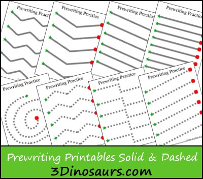 Free Prewriting Practice Solid & Dashed Printable Worksheets