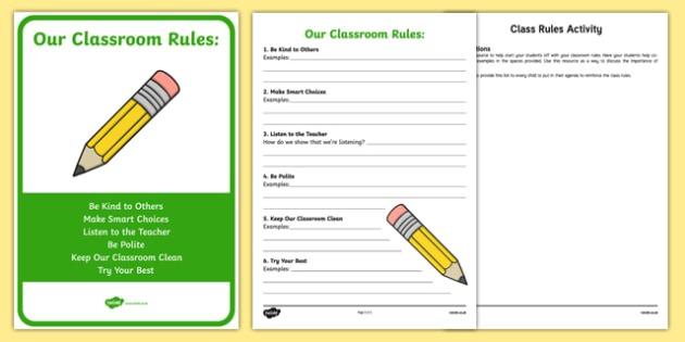 Class Rules Worksheet   Worksheet And Display Pack, Worksheet