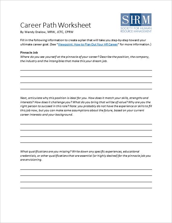 Career Plans Worksheet