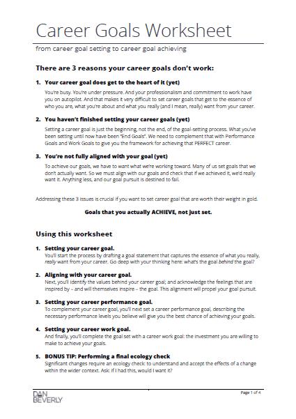 Career Goals Worksheet