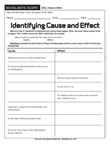 Cause And Effect Worksheets For Middle School