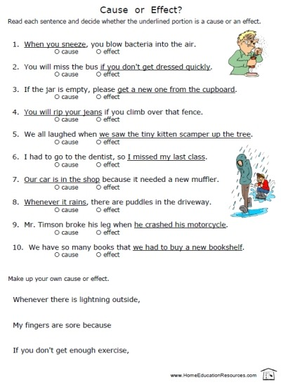 Cause And Effect Worksheets – Home Education Resources